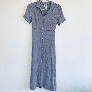Vintage 90s Check Plaid Button Down Maxi Dress